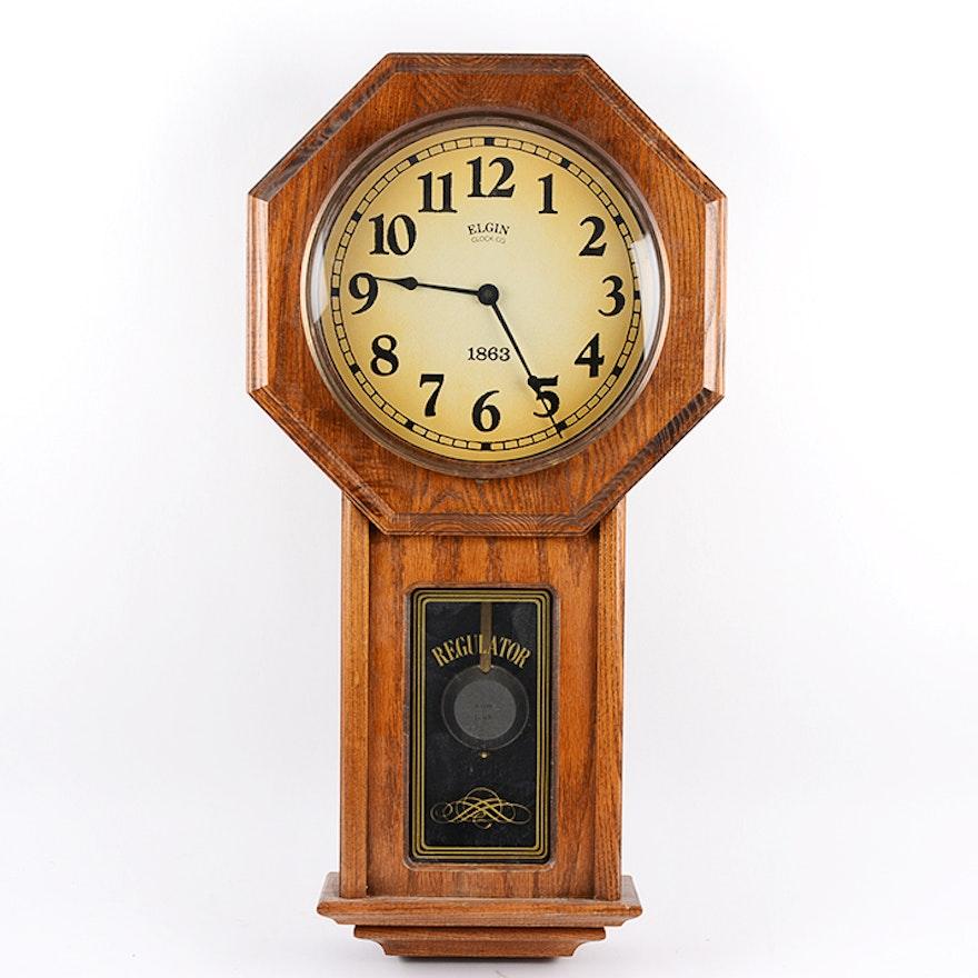 Reproduction Elgin 1863 Regulator Wall Clock Ebth