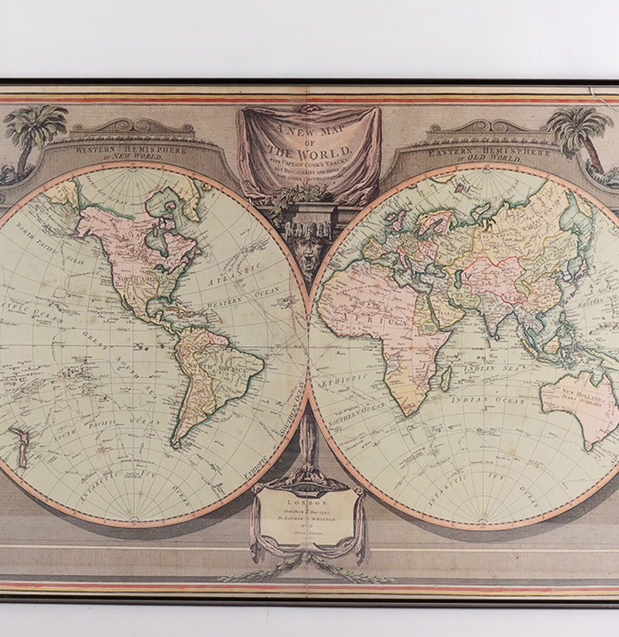 Worksheet. A New Map of the World by Laurie Whittle Framed Print  EBTH