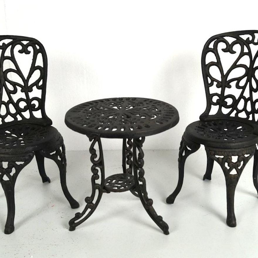 Doll sized wrought iron cafe table and chairs ebth for Wrought iron cafe chairs