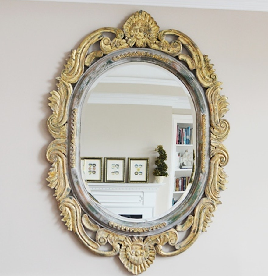 Expansive baroque style wall mirror ebth for Baroque style wall mirror
