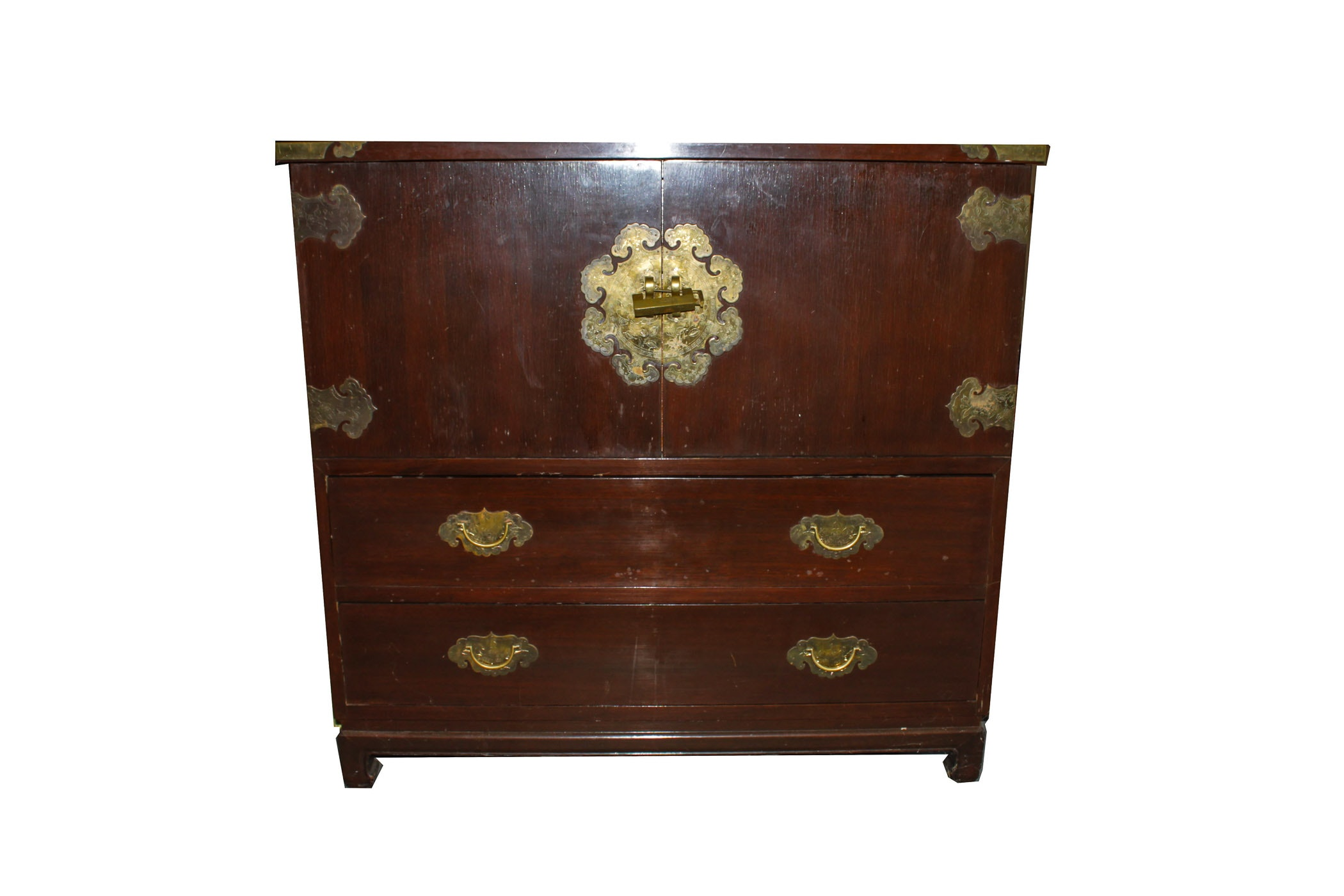 Great Asian Motif Silver Storage Chest ...