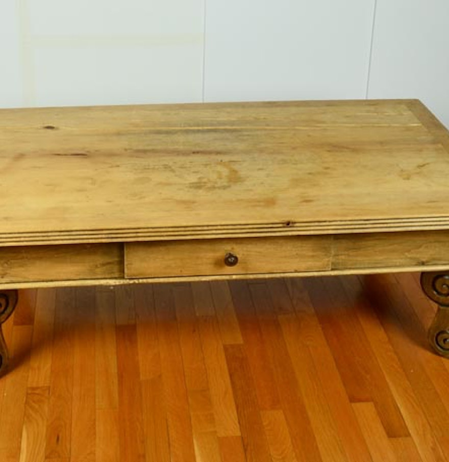 Rustic Knotty Pine Coffee Table Ebth