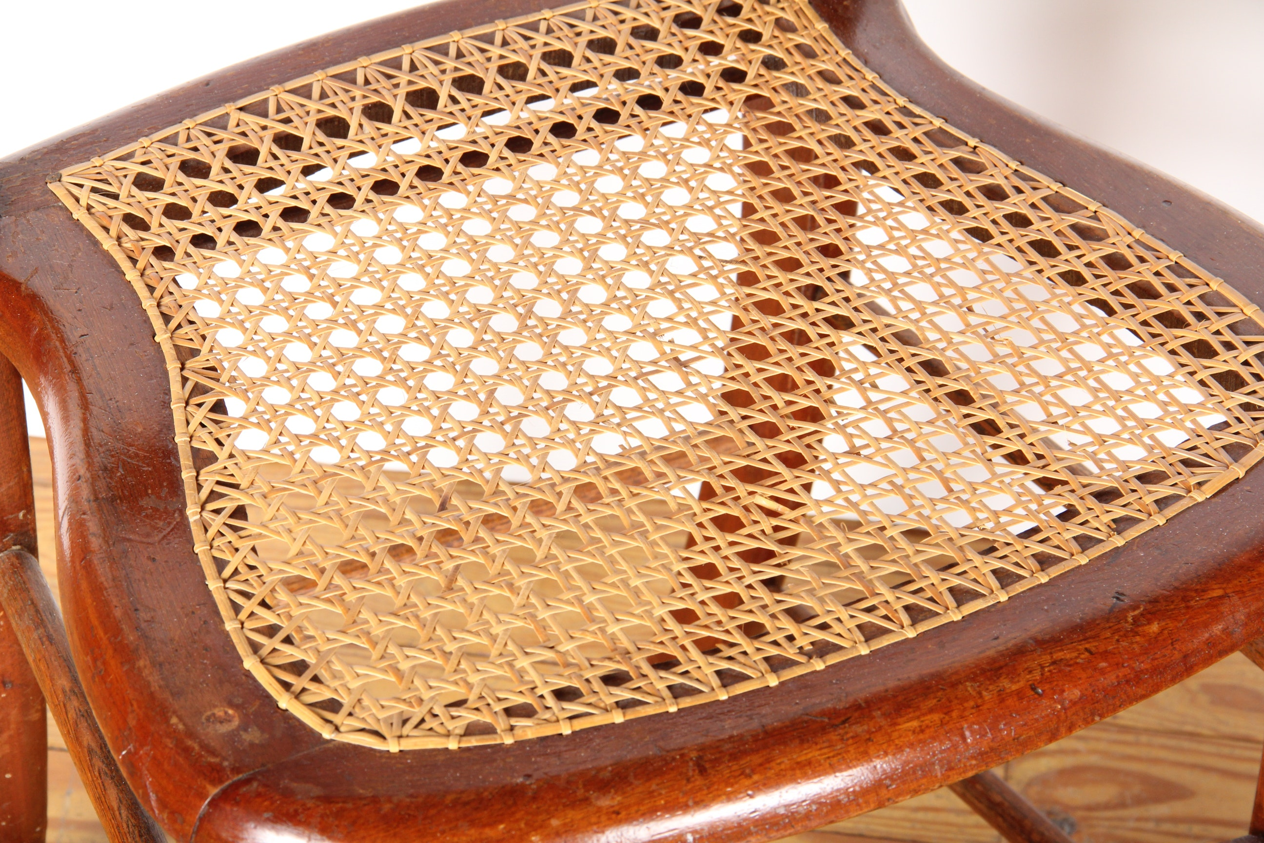Pair Of Woven Caned Chairs Ebth