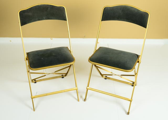 Gold Framed Folding Chairs ...