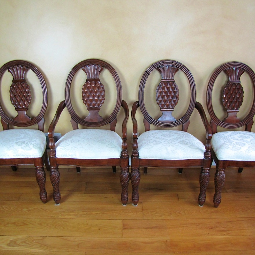 Set Of Four Pineapple Back Dining Chairs