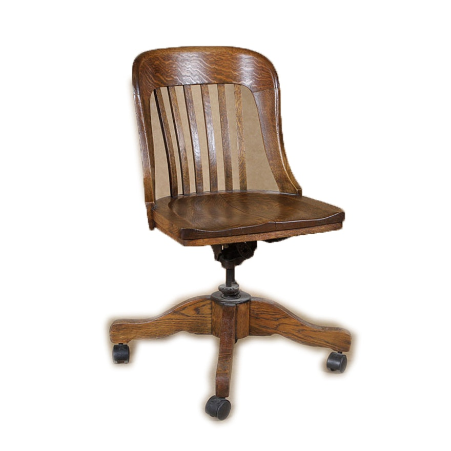 Antique Sikes Oak Swivel Bankers Chair ... - Antique Sikes Oak Swivel Bankers Chair : EBTH