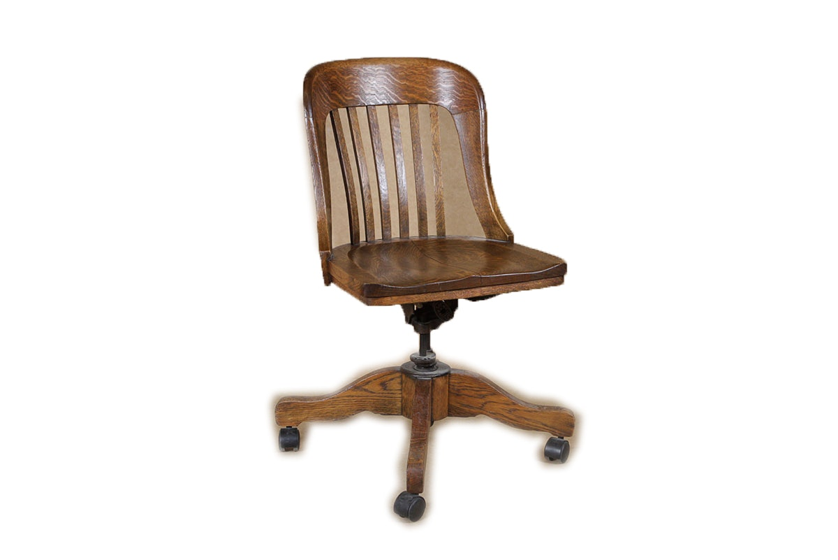 antique sikes oak swivel bankers chair