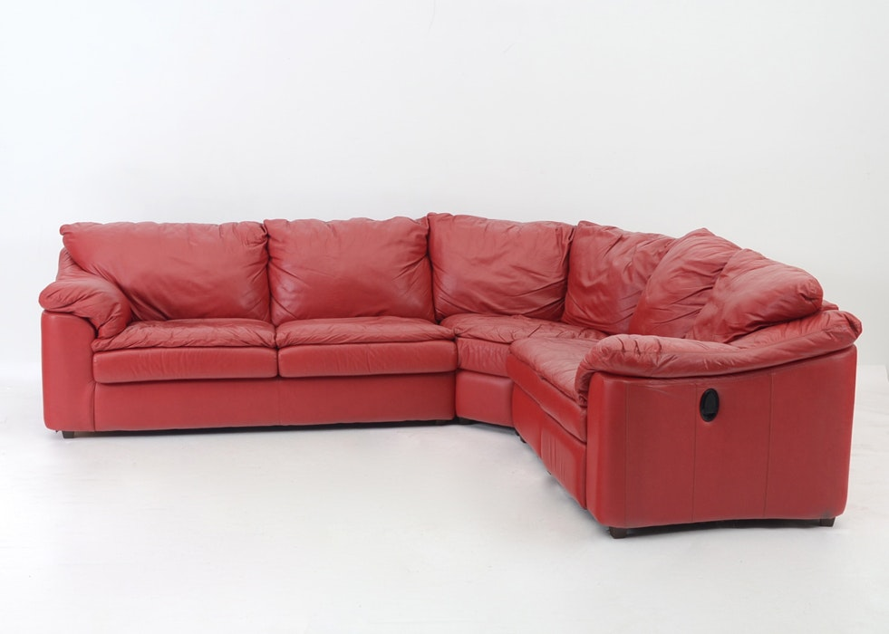 Red Leather and Vinyl Sectional Sleeper Sofa ... : red sectional sleeper sofa - Sectionals, Sofas & Couches