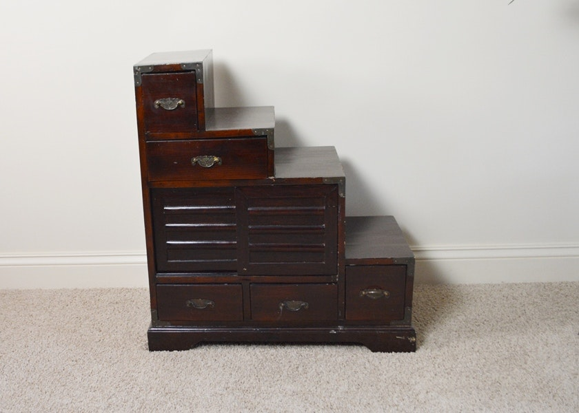 Japanese Style Tansu Step Chest ...