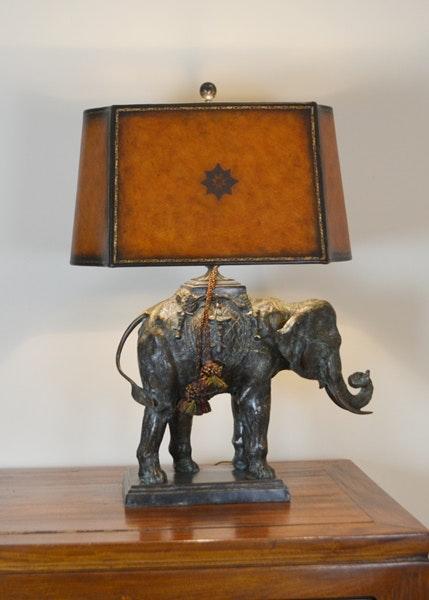 Maitland Smith Bronze Elephant Table Lamp ...