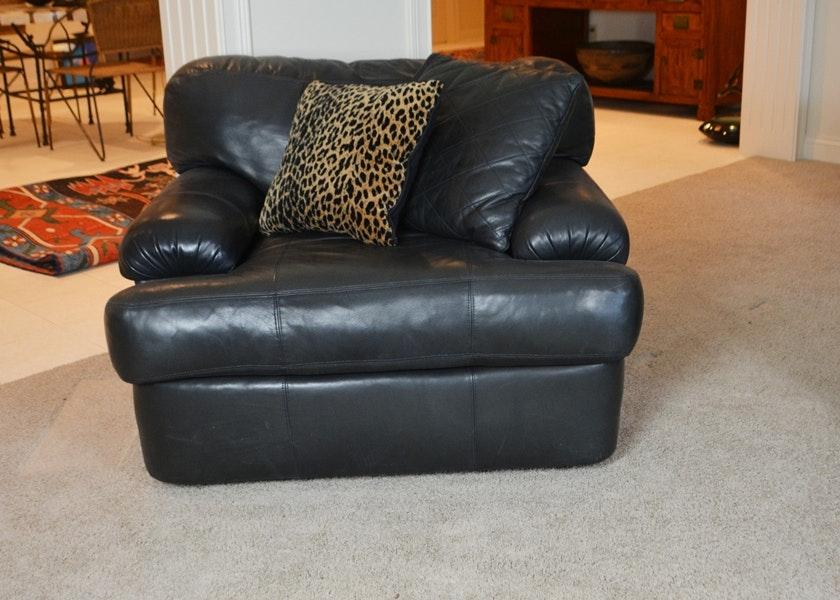 henredon black leather lounge chair - Retro Chairs
