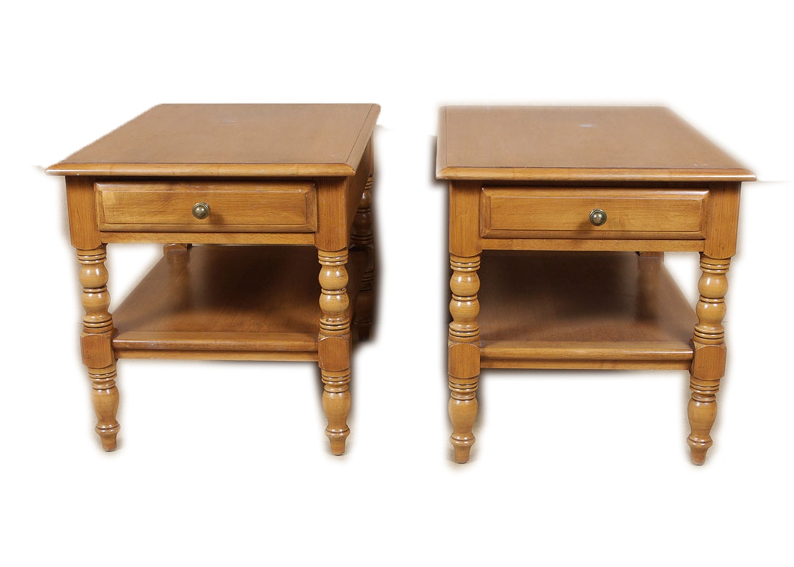 Pair Of Conant Ball Maple End Tables ...