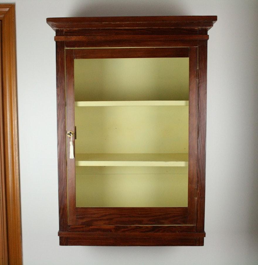 pine wall mount curio cabinet ebth. Black Bedroom Furniture Sets. Home Design Ideas
