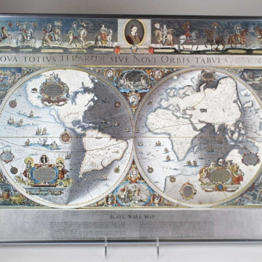 Blaeu World Map.Blaeu World Map Framed Ebth