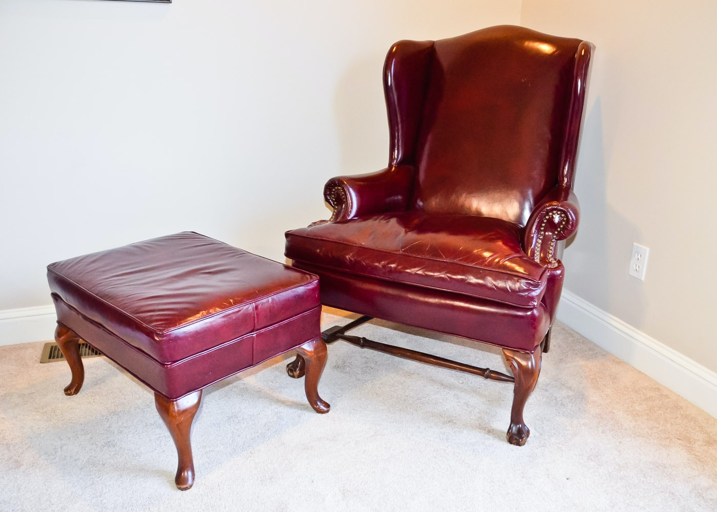 Fairfield Red Leather Wing Back Armchair ...