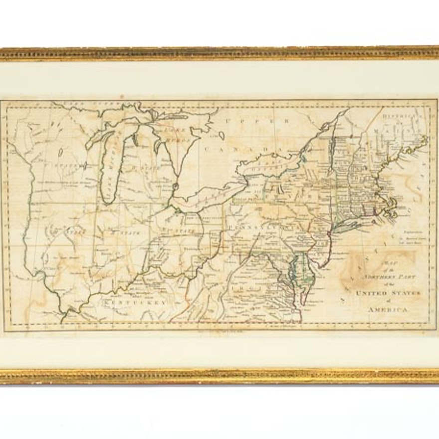 Original 1798 Map of the Northern United States : EBTH