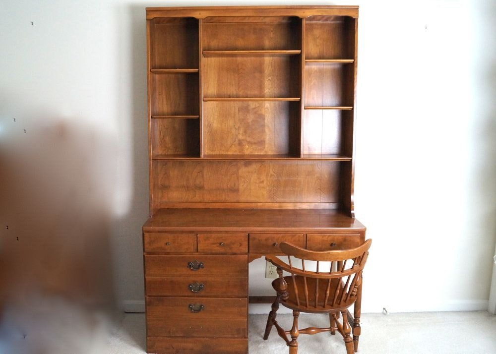 Ethan Allen Maple Desk With Hutch And Chair Ebth