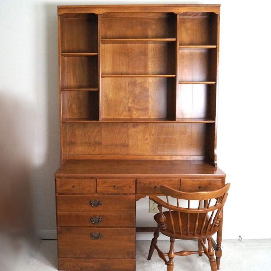 Ethan Allen Maple Desk With Hutch And Chair