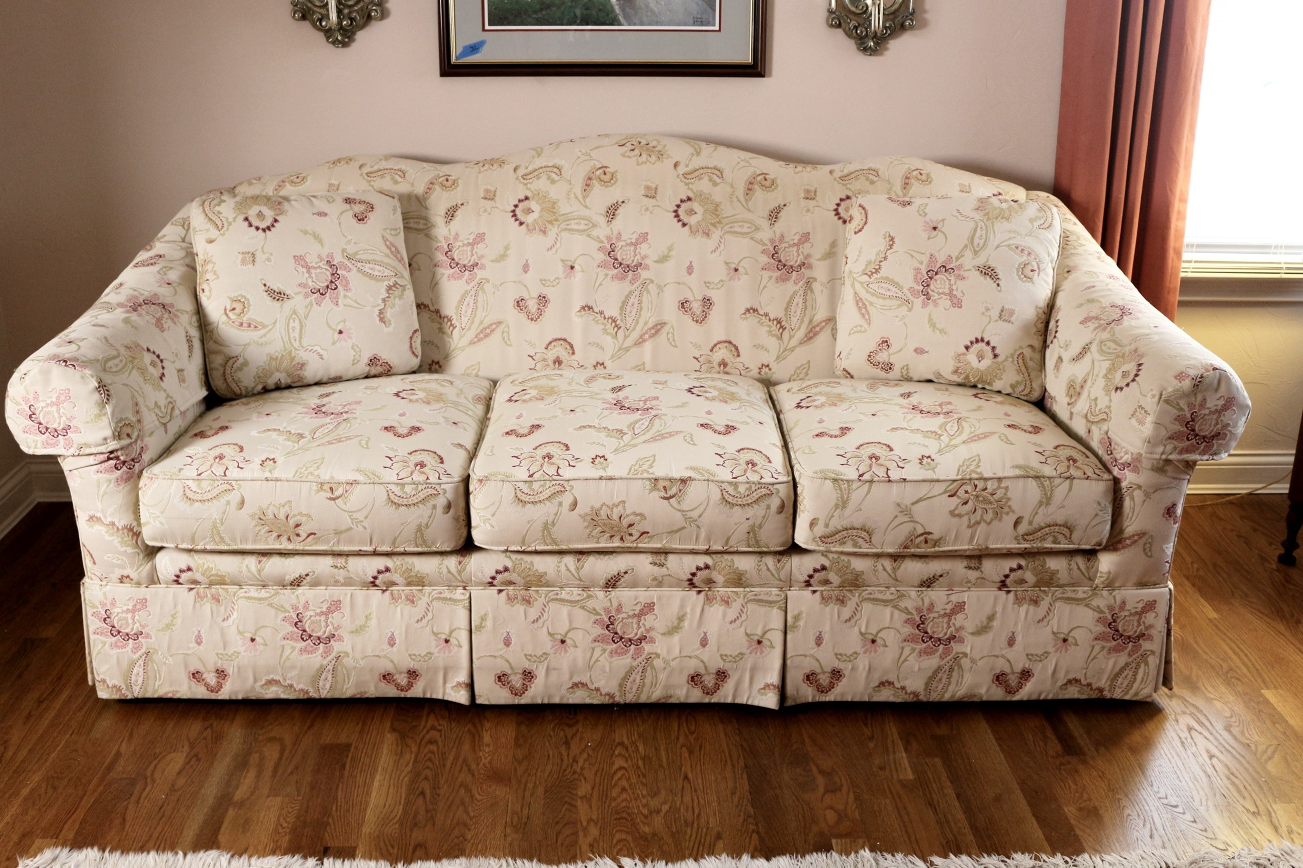 Elegant Ivory And Floral Sofa By Sherrill Furniture ...