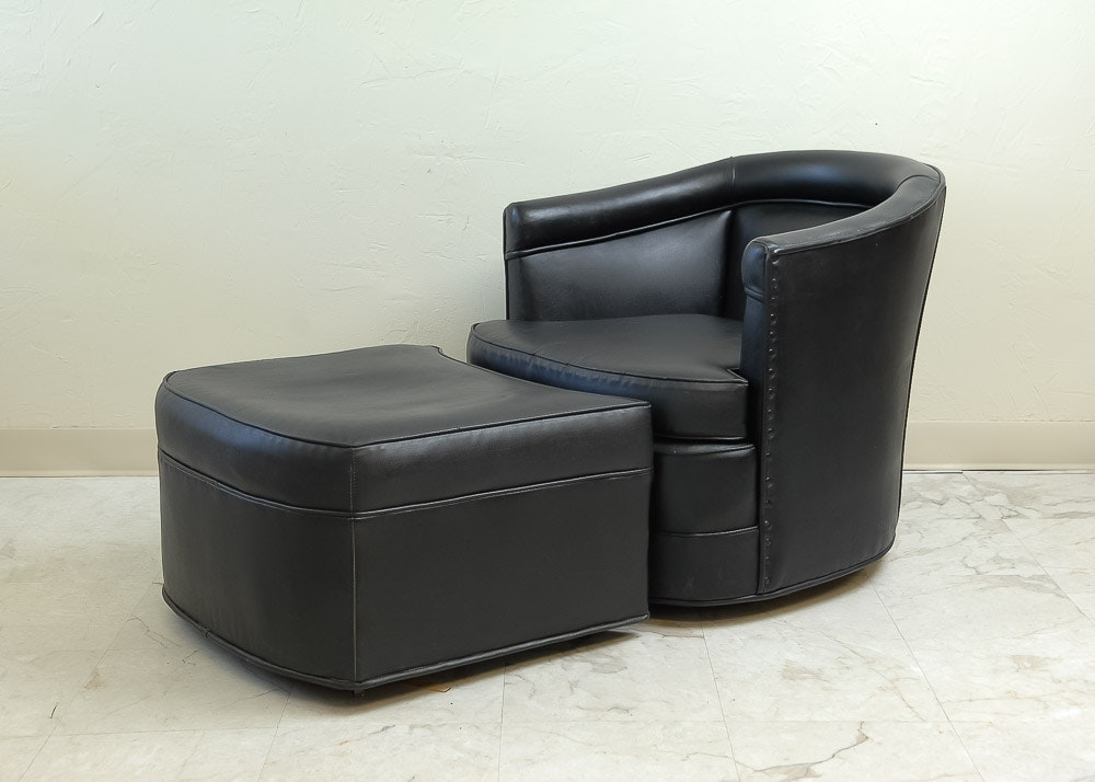 Black Naugahyde Chair And Ottoman ...