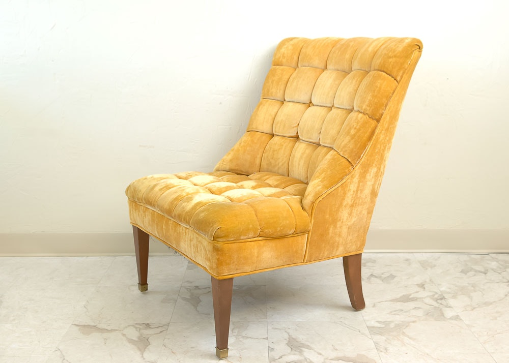Ordinaire Tufted Gold Tone Velvet Chair ...