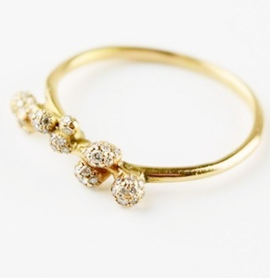 Delicate 18k Rose Gold And Diamond Ring By Yoshinobu Kataoka