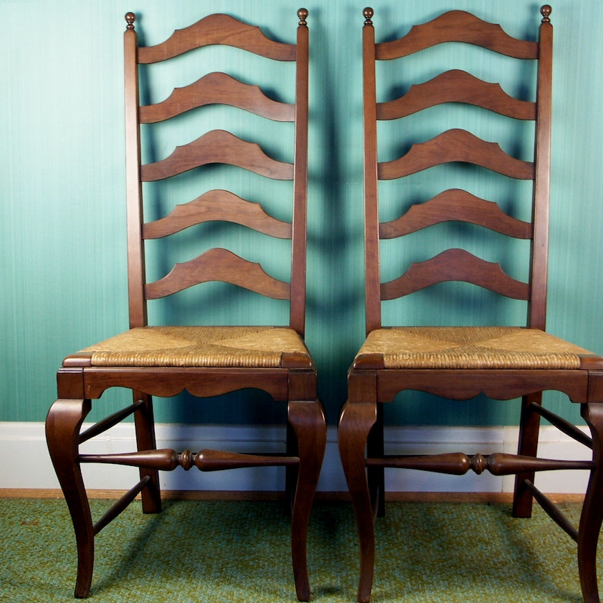 Vintage English Walnut Ladder Back Chairs ... - Vintage English Walnut Ladder Back Chairs : EBTH