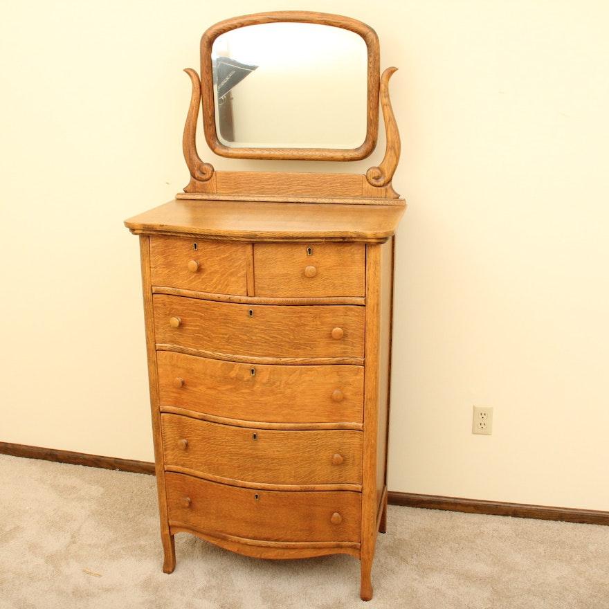 Antique Oak Highboy Dresser And Mirror
