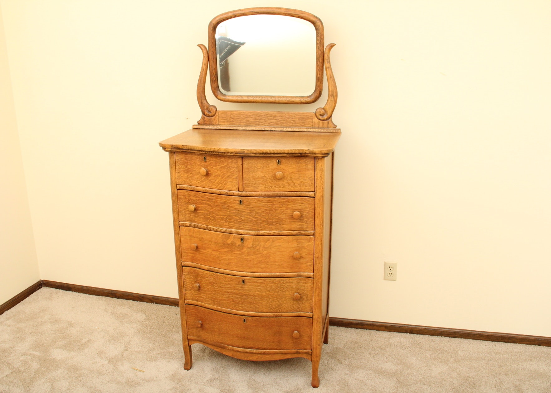 antique oak highboy dresser and mirror