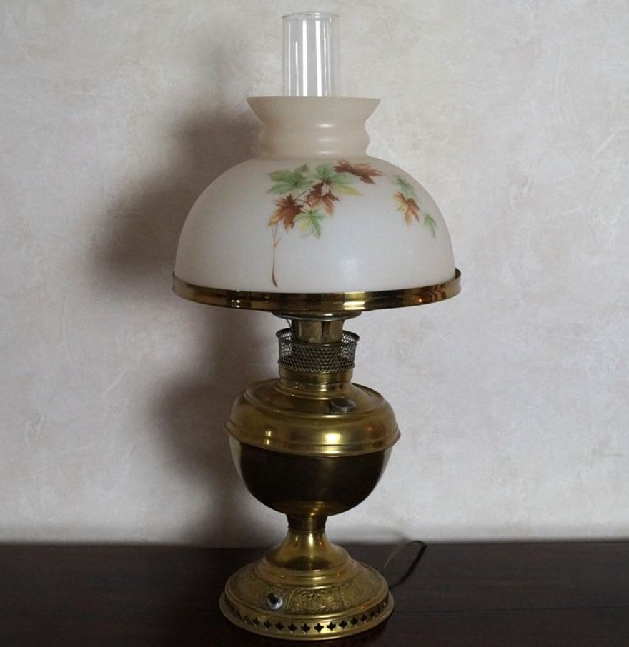 Vintage Hurricane Lamp Converted From Gas To Electric