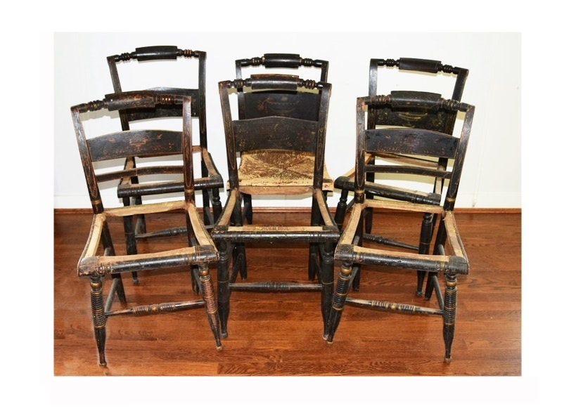 Merveilleux Set Of Six 20th Century Hitchcock Chairs With Faint Decoration ...