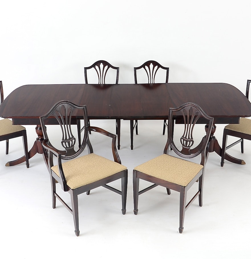 duncan phyfe style dining table and six chairs ebth. Black Bedroom Furniture Sets. Home Design Ideas