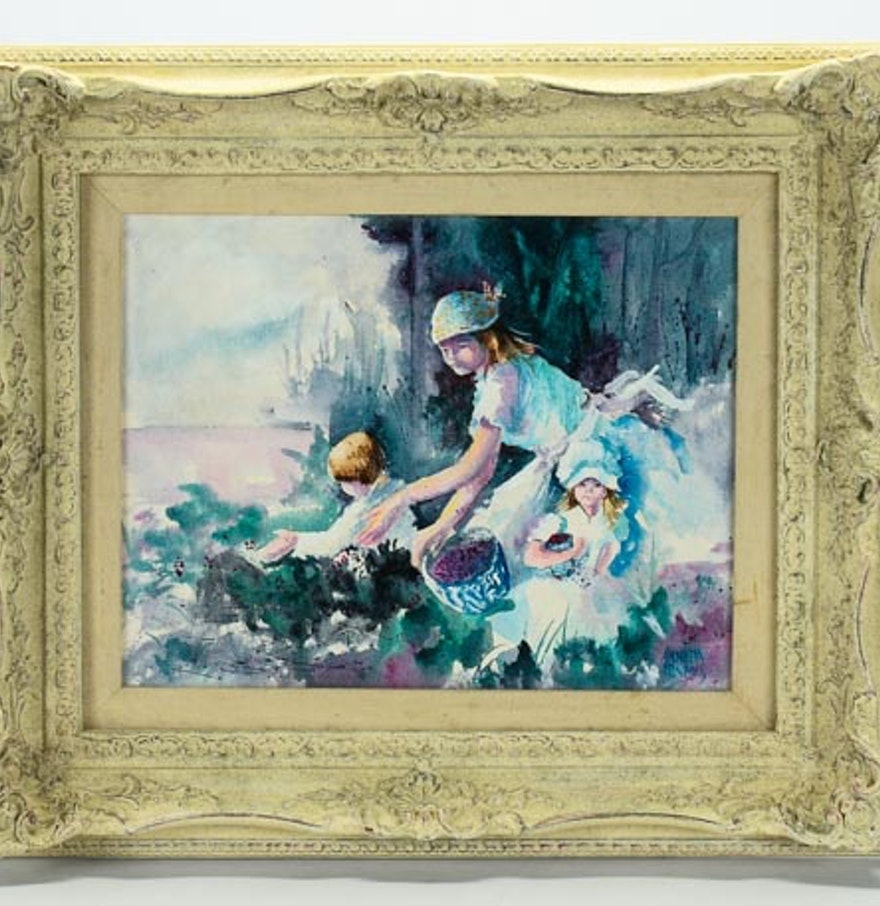Fine watercolor art for sale - Annetta Nichols Signed Watercolor On Canvas Blackberries