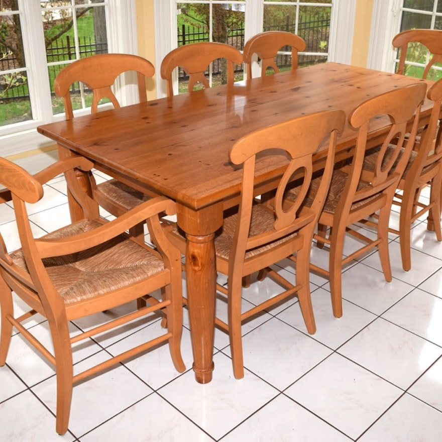Pottery Barn Pine Farm Table And Eight Chairs EBTH - Pottery barn pine table