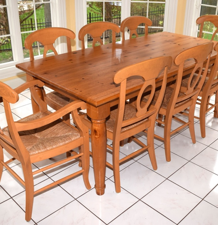 pottery barn pine farm table and eight chairs ebth