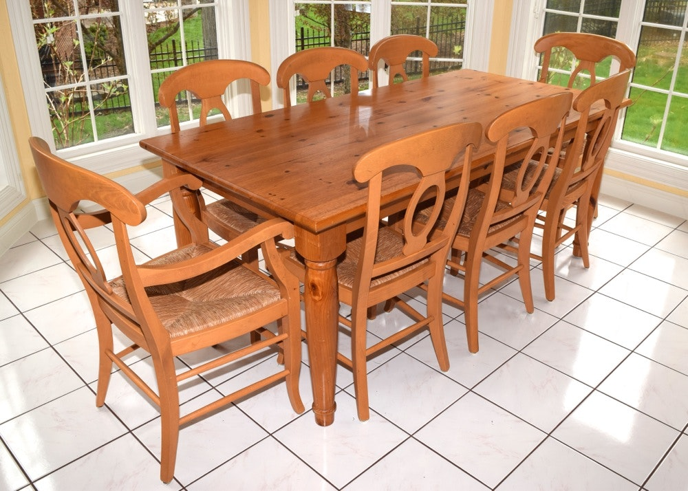 Pottery Barn Pine Farm Table And Eight Chairs ...