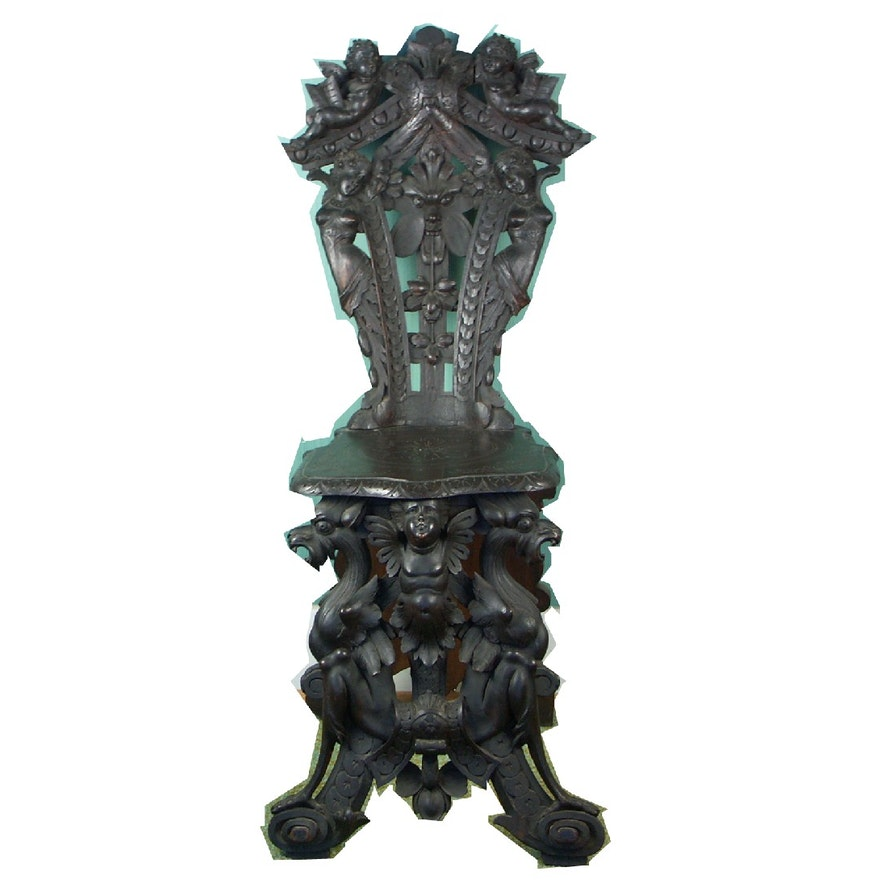 Swell Unique 1800S Carved Renaissance Revival Victorian Hall Chair Theyellowbook Wood Chair Design Ideas Theyellowbookinfo