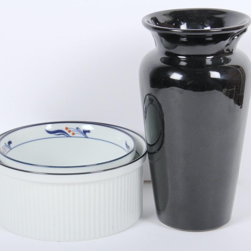 Dansk Souffle Bowls And Vase Ebth
