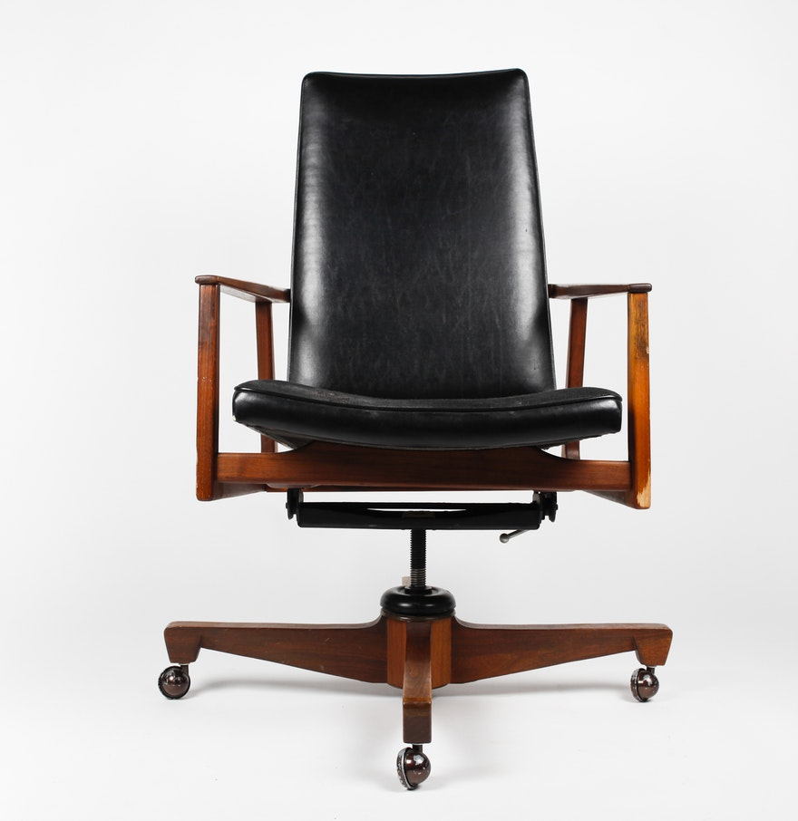 mid century modern danish style high back swivel office chair ebth. Black Bedroom Furniture Sets. Home Design Ideas