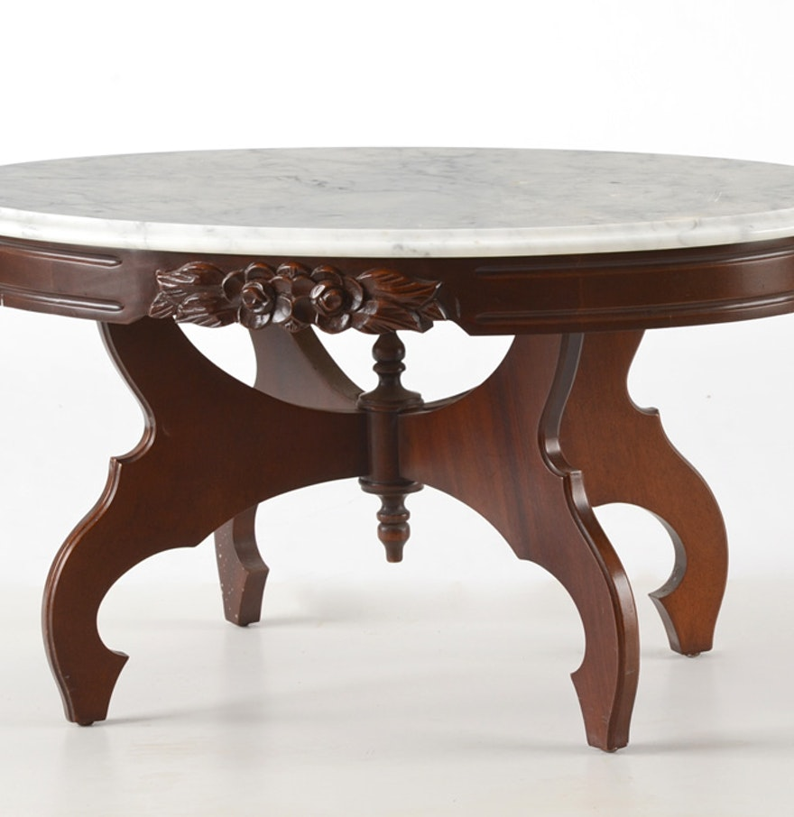 Vintage mahogany carved marble top oval coffee table ebth for Stone topped coffee tables