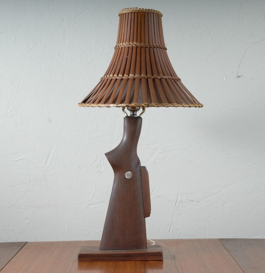 Antique wooden table lamps - Wooden Shotgun Shape Table Lamp