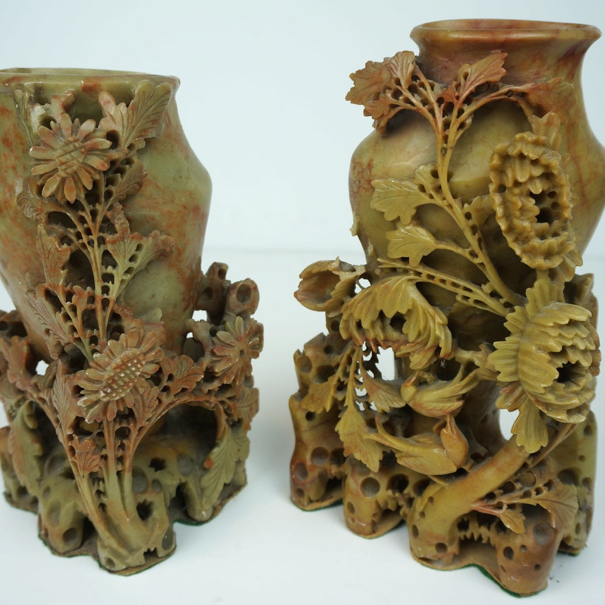 Pair Of Chinese Hand Carved Soapstone Vases Ebth