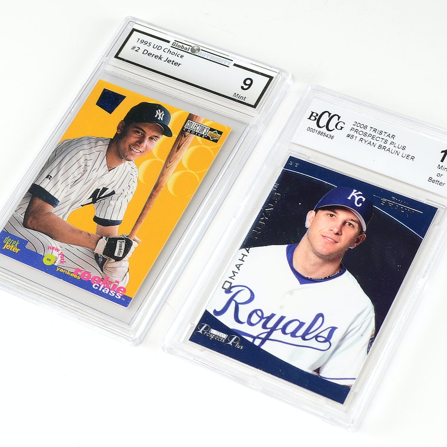 Derek Jeter And Ryan Braun Graded Rookie Card