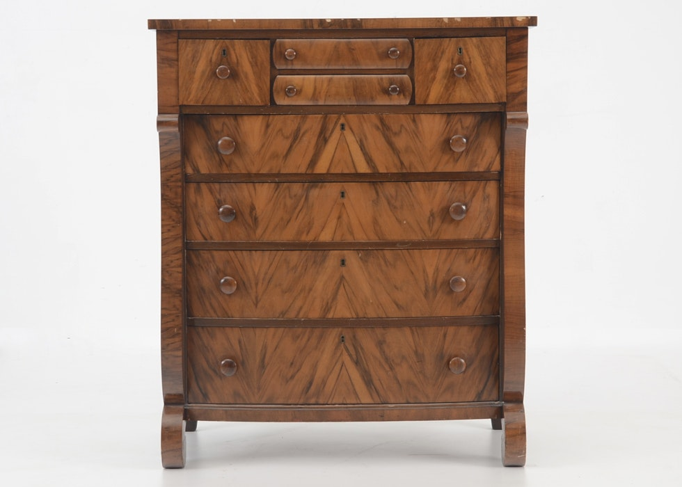 Delightful Empire Style Mahogany Chest Of Drawers By Kreimer U0026 Brother