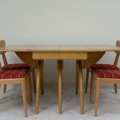 Heywood Wakefield Butterfly Drop Leaf Dining Table And Chairs