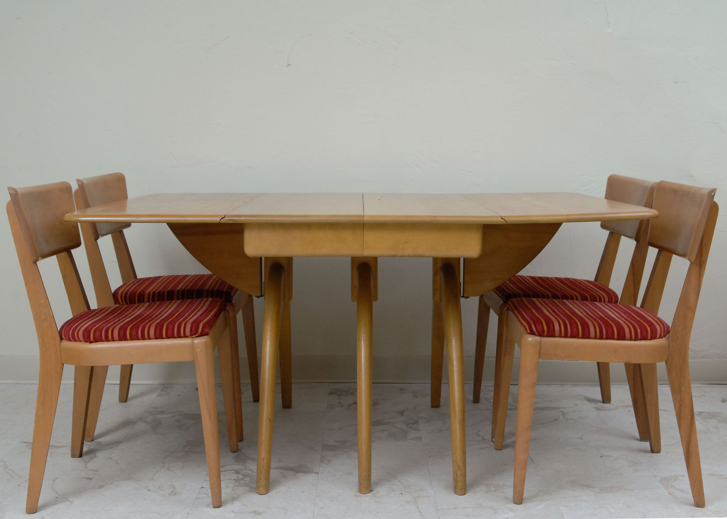 Heywood Wakefield Butterfly Drop Leaf Dining Table And Chairs ...