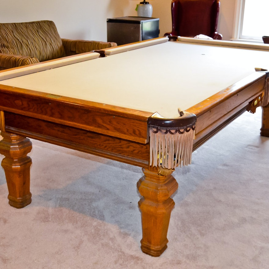 Golden Oak Brunswick Pool Table And Accessories EBTH - Brunswick mission pool table