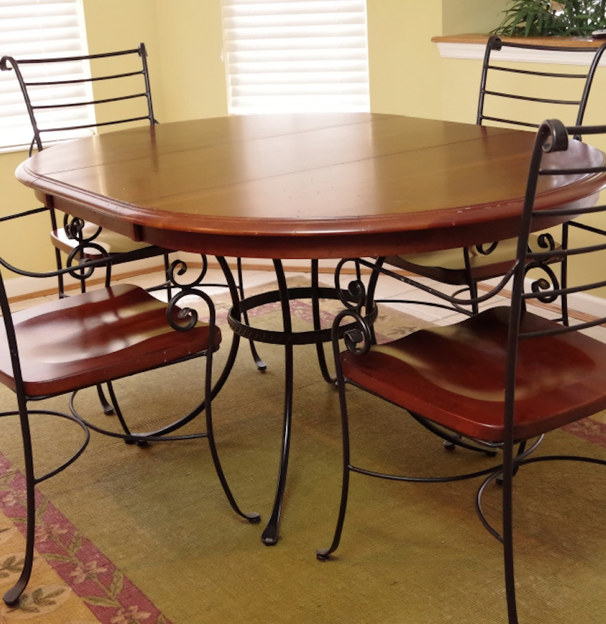 kincaid iron and wood dining room table with four chairs ebth. Black Bedroom Furniture Sets. Home Design Ideas