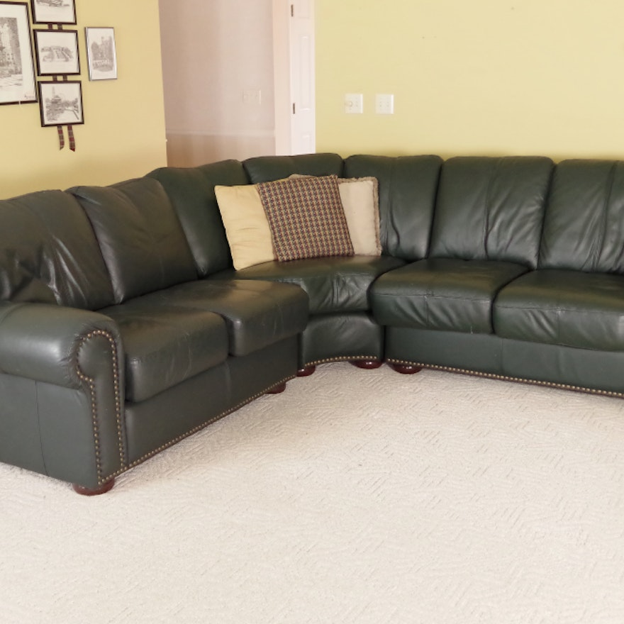 Leather mart three piece sectional sofa ebth for Large 3 piece sectional sofa