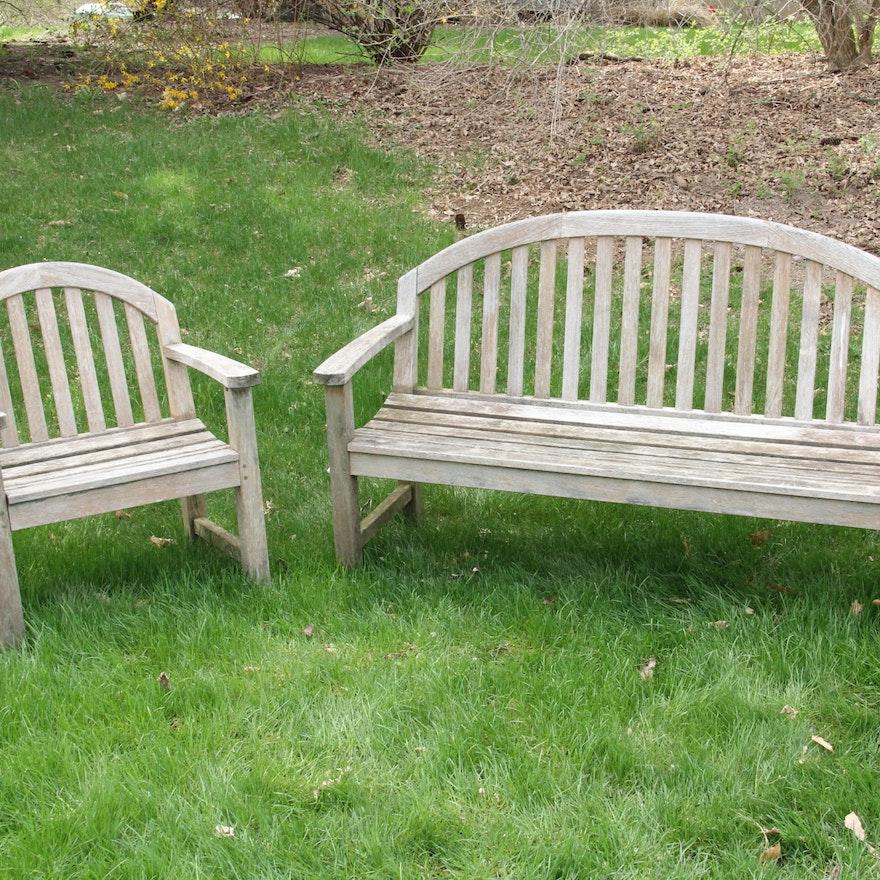 Smith Hawken Teak Bench And Chair